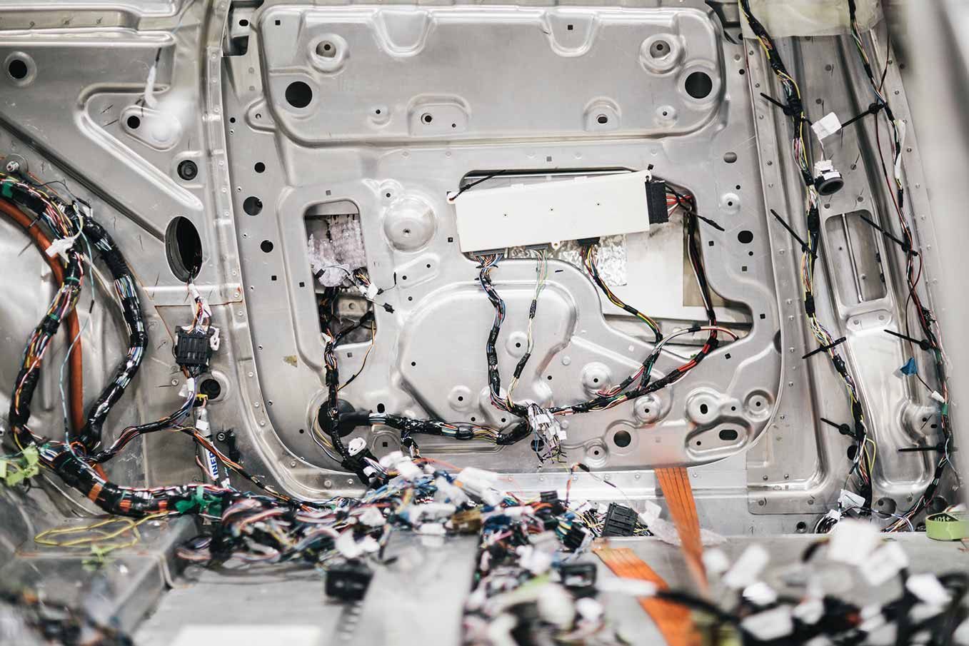 Behind The Scenes Inside Faraday Futures Lab Car Test Facility Full Wiring Harness Is A Biw Body In White That Houses Every Electrical Component With Exception Of Power Inverter And High Voltage System