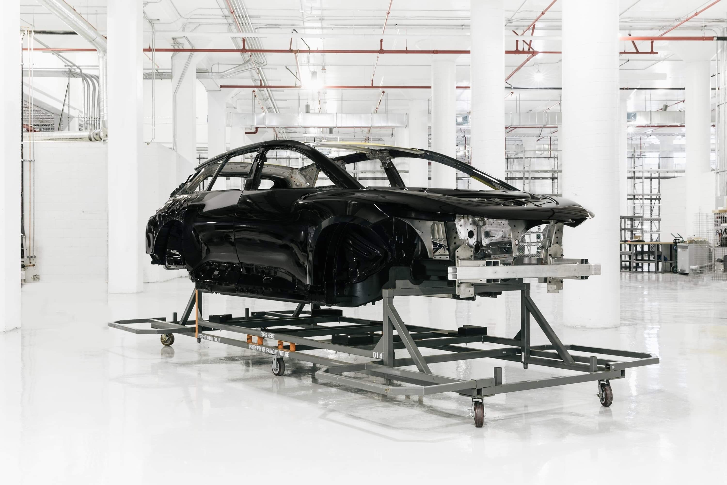 First Complete Ff 91 Body In White For Assembly Starts Build Path At Faraday Future Hanford Facility Press Room